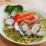 食譜。青醬海鮮義大利麵